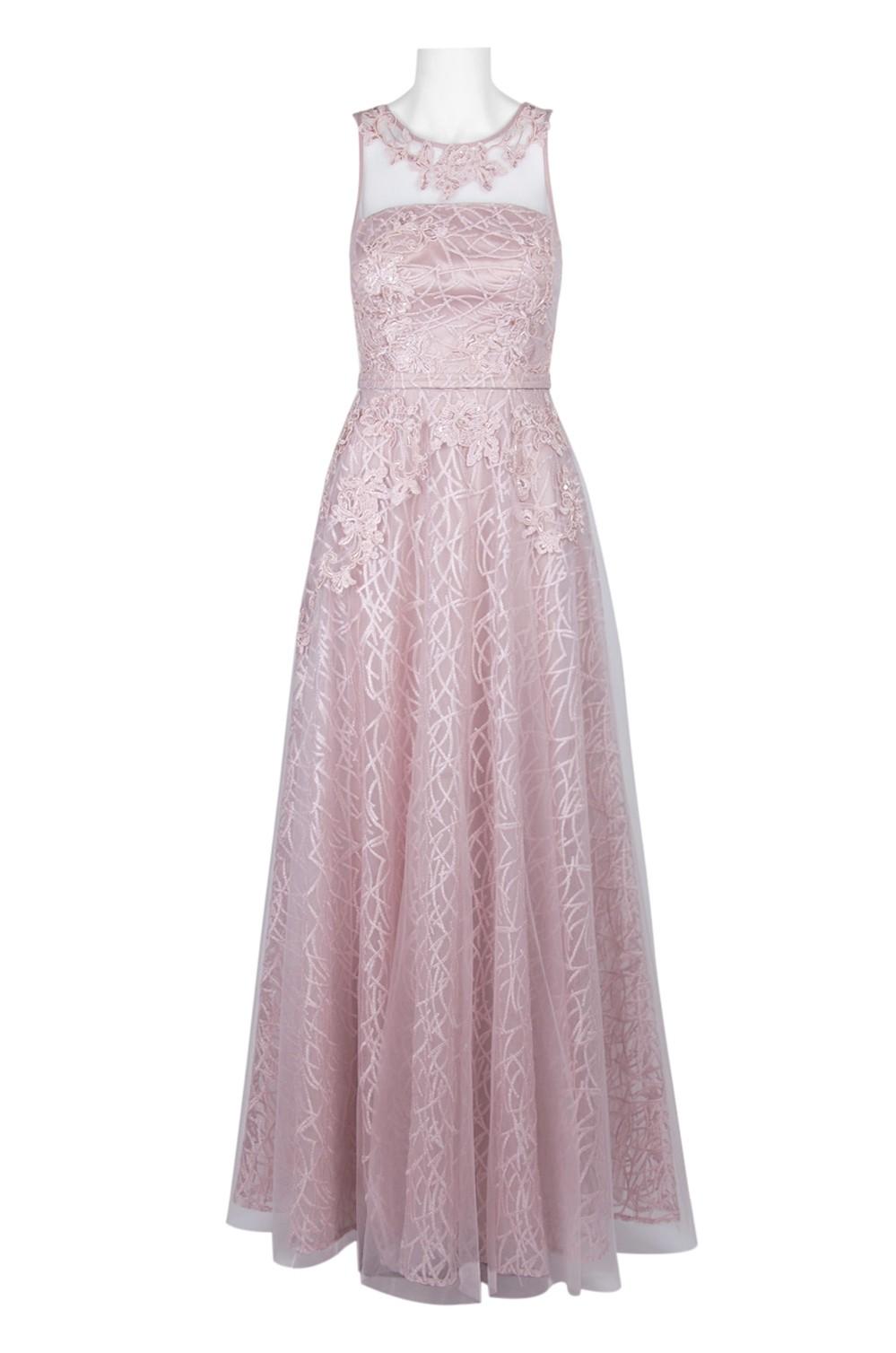 3781f70f9c Decode Scoop Neck Sleeveless Illusion V-Back Embroidered Mesh Dress ...