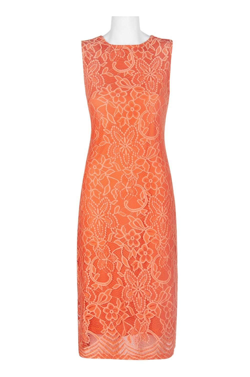 Sharagano Crew Neck Sleeveless Zipper Back Floral Lace Dress