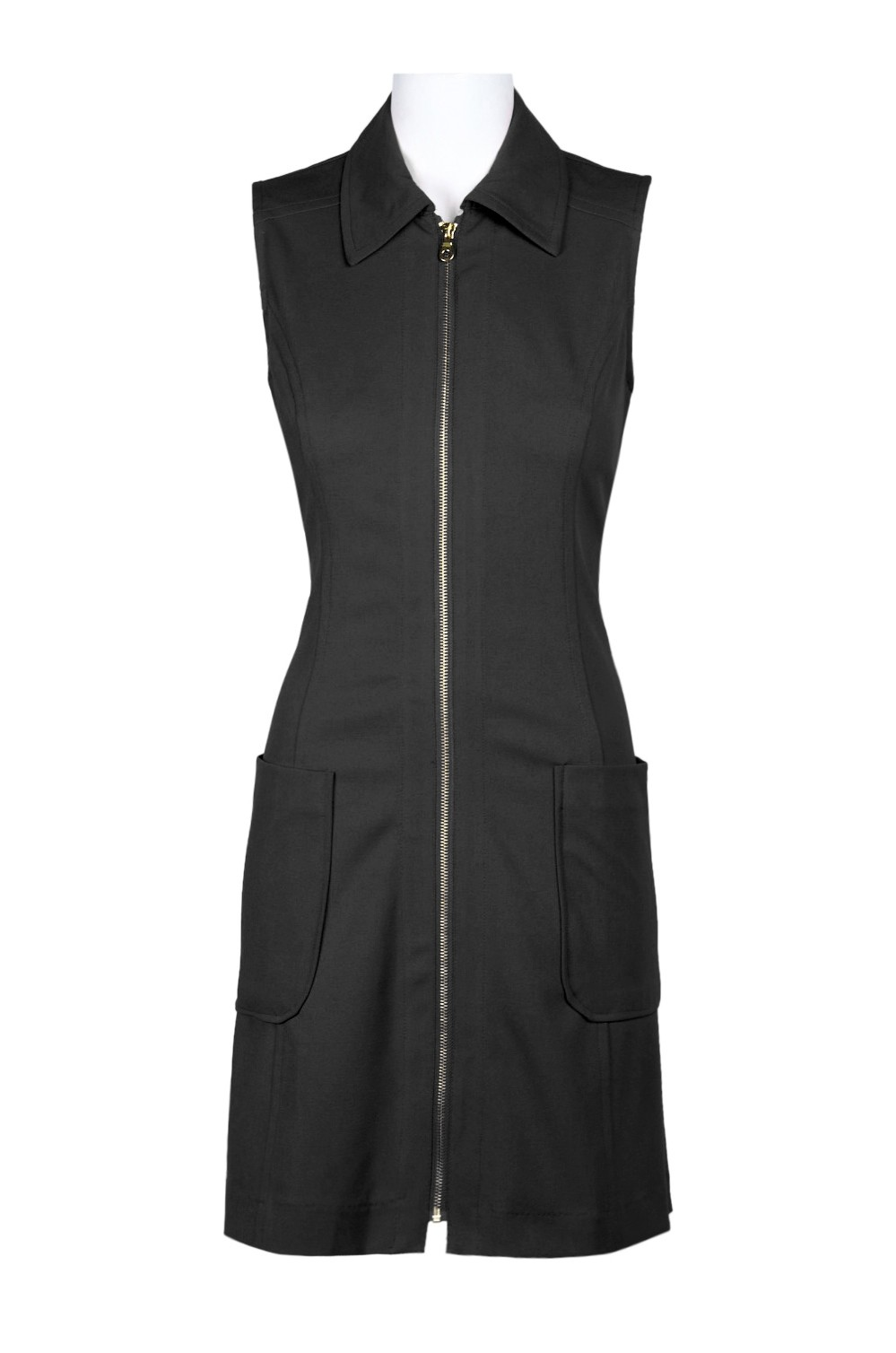 Sharagano Collared Sleeveless Zipper Front Solid Stretch Polyester