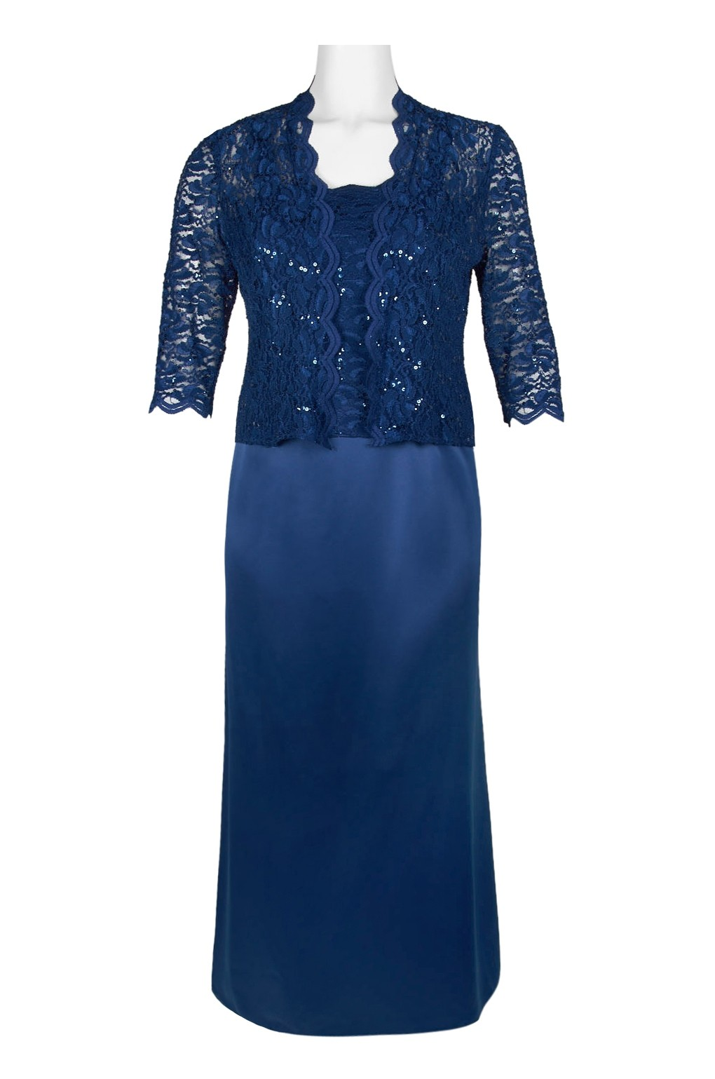 2e8a1c7fc2f Alex Evenings Scalloped Lace Bodice Satin Dress with 3 4 Sleeve Lace ...