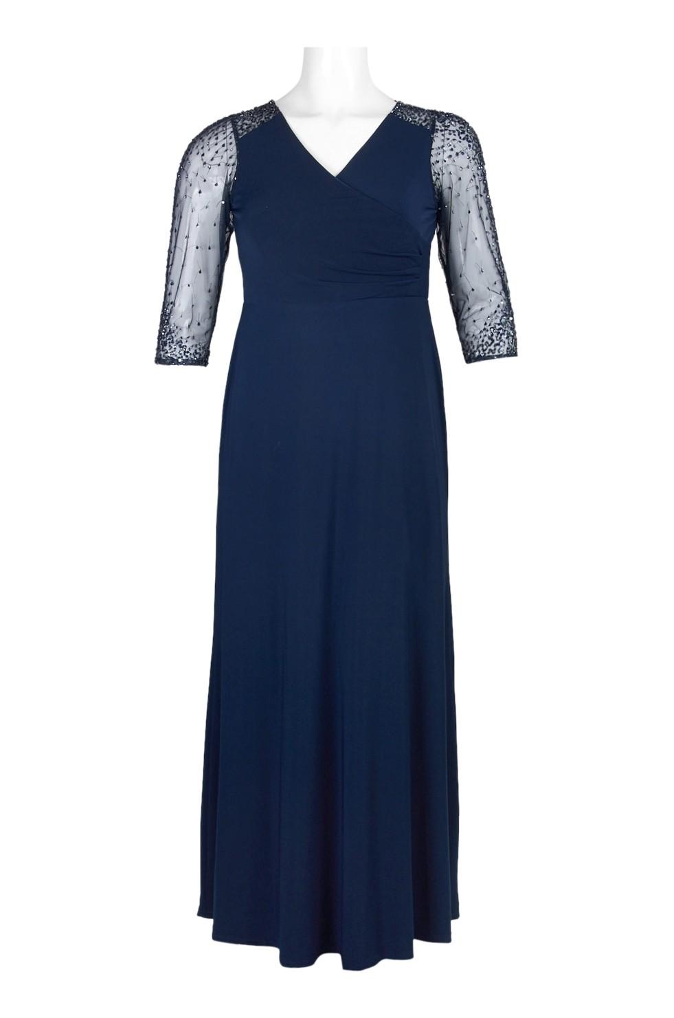 Adrianna Papell V-Neck 3/4 Sleeve Zipper Back Embellished Jersey ...