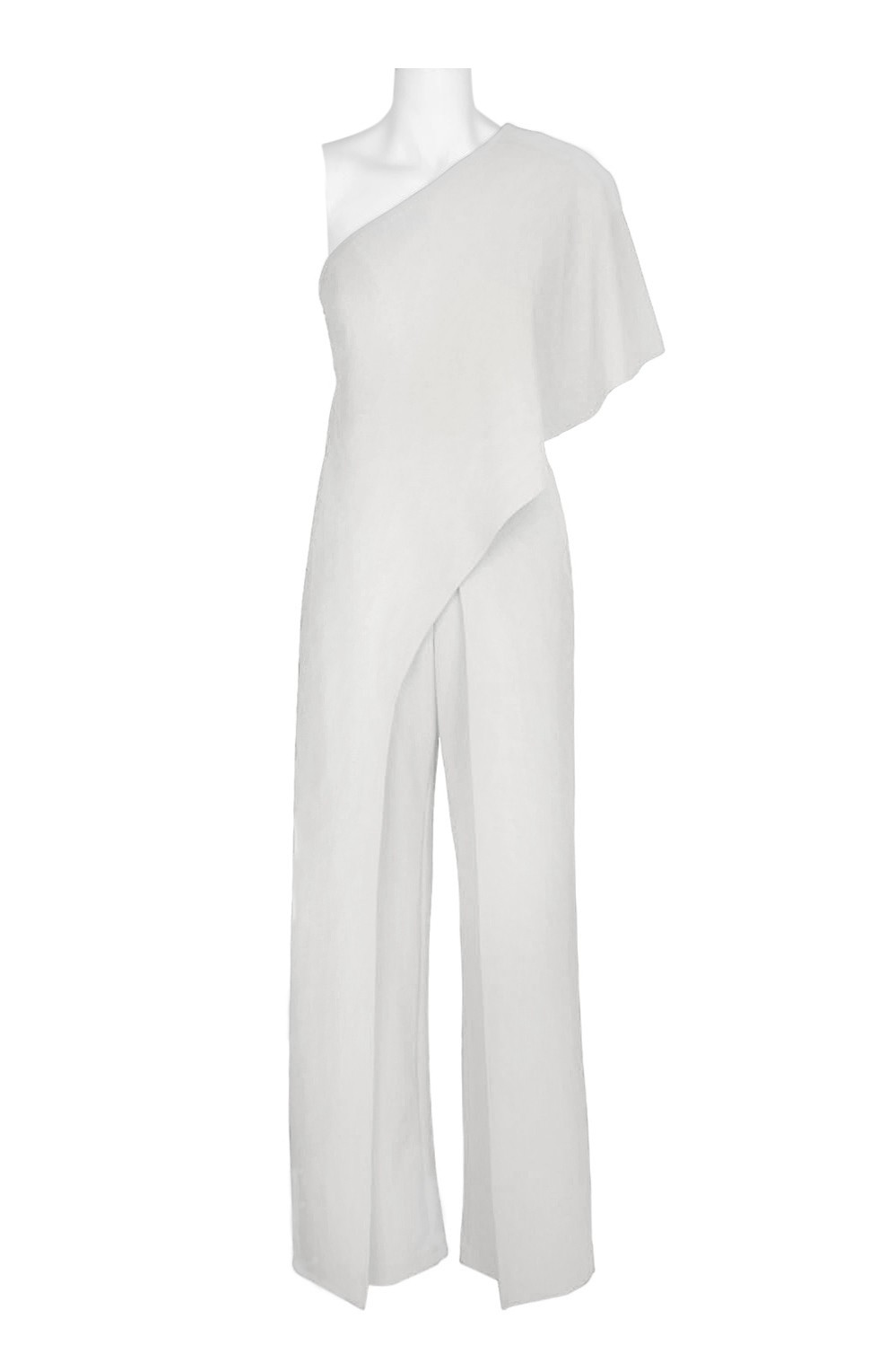 1224b8b4af0e Adrianna Papell Asymmetrical One Shoulder Cape Sleeve Solid Jumpsuit ...