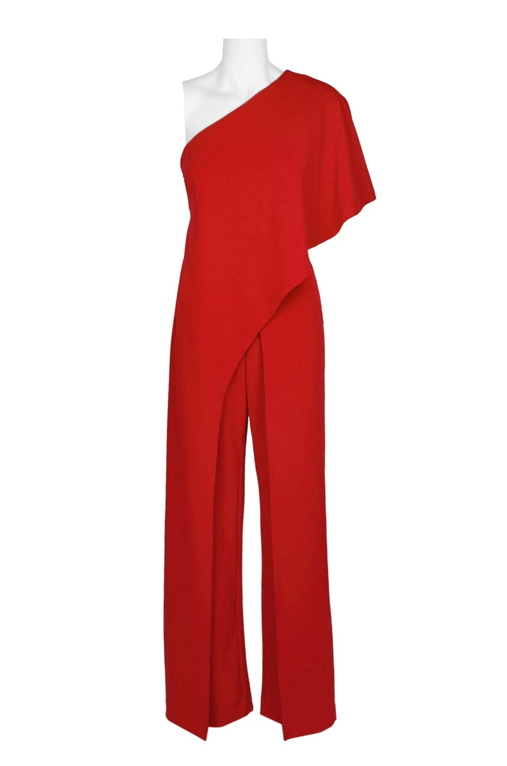 1e0cf7fdbda8 Adrianna Papell Asymmetrical One Shoulder Cape Sleeve Solid Jumpsuit ...