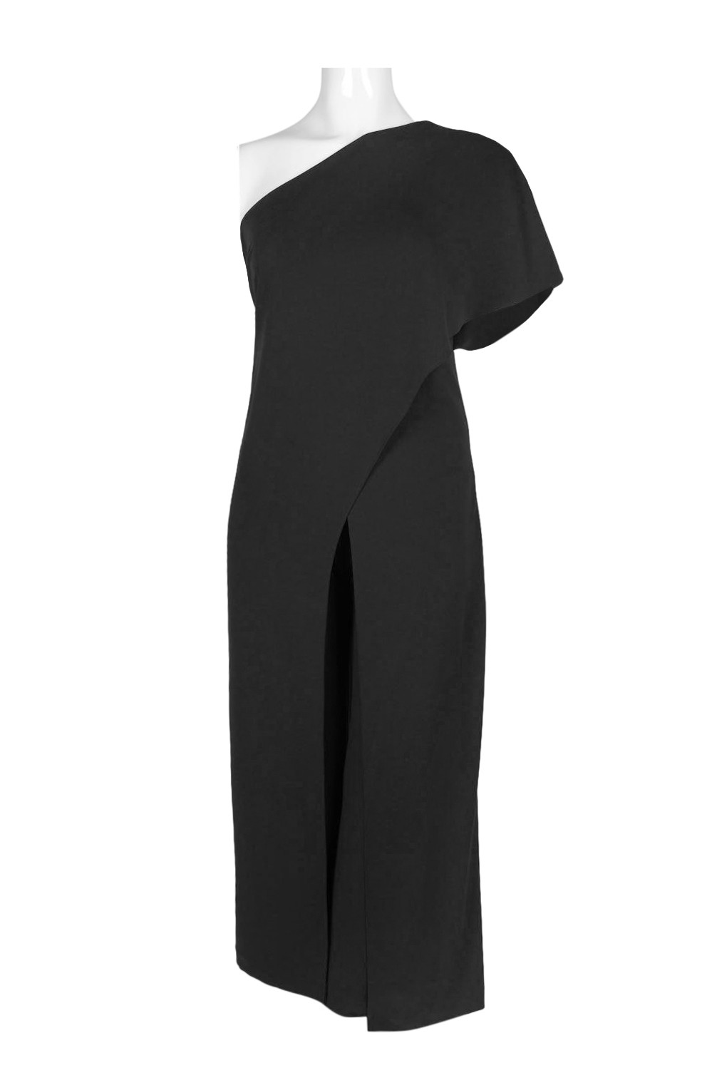 ec48d079f1f Adrianna Papell Asymmetrical One Shoulder Cape Sleeve Solid Jumpsuit ...