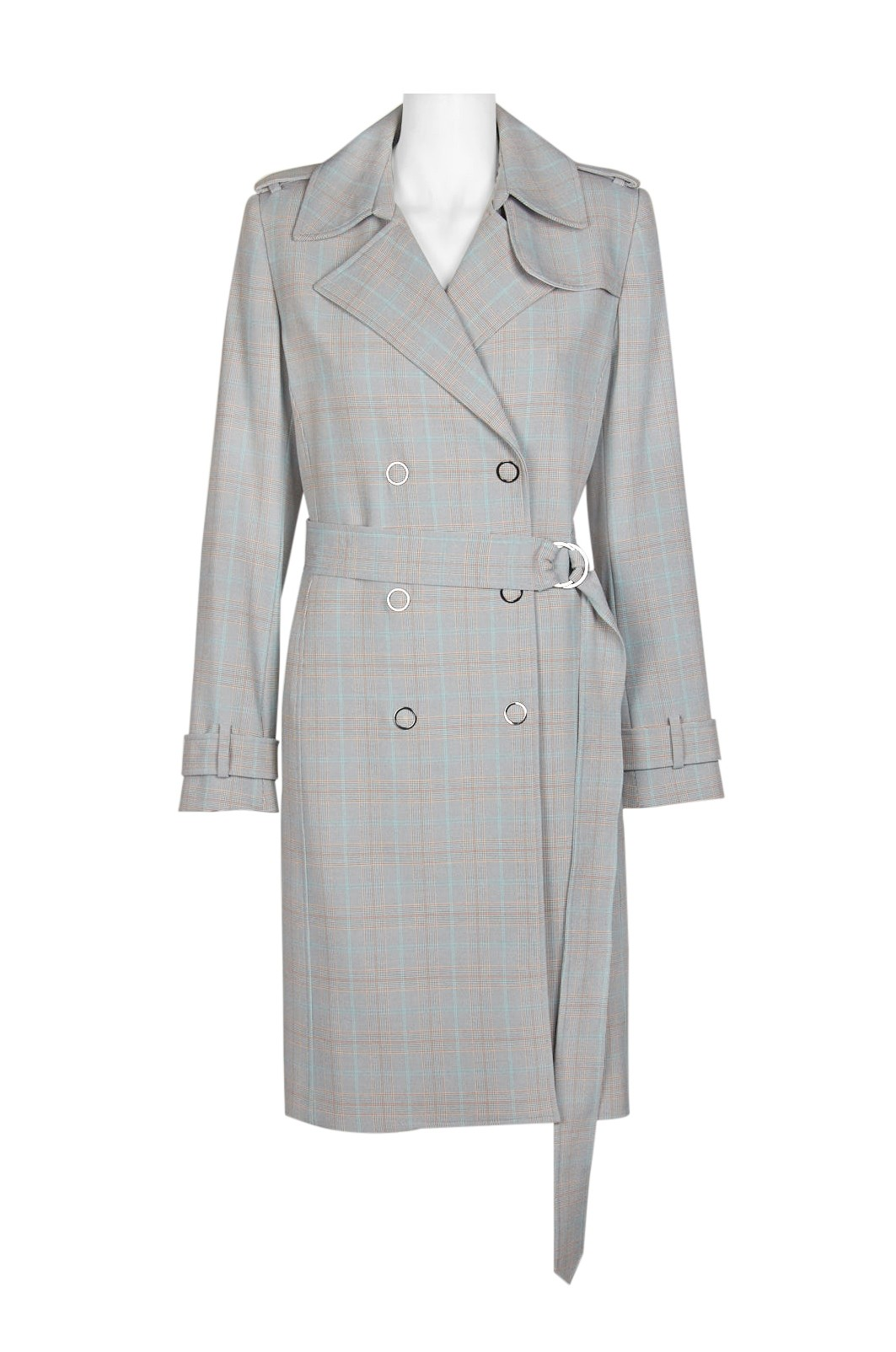 T Tahari Notched Collar Long Sleeve Belted Trench Coat Twill Dress