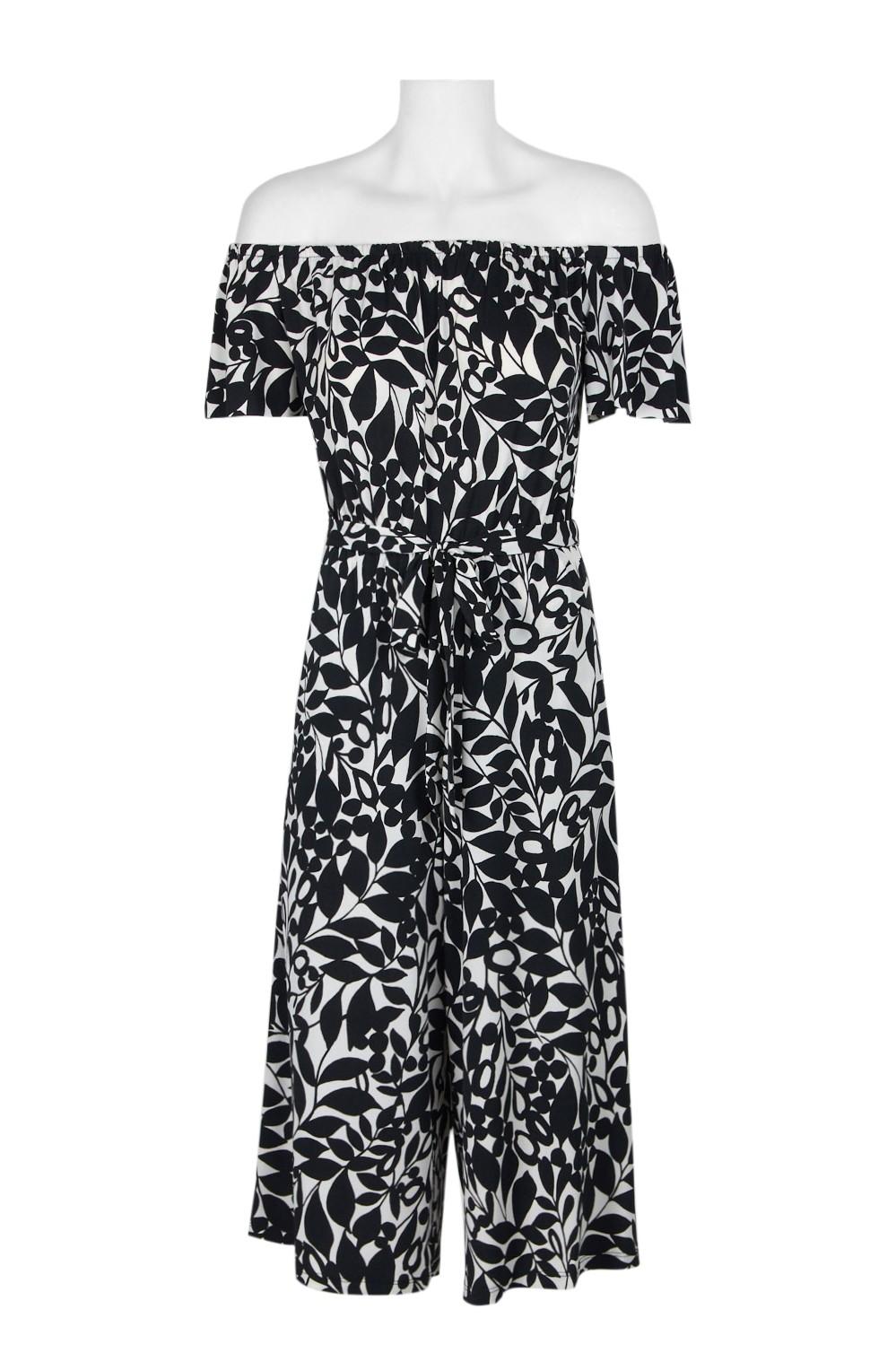 5593e57a9f9c London Times Off-Shoulder SHort Sleeve Tie Waist Multi Print Jersey ...