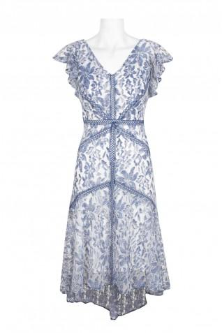 23884d622393 Taylor V-Neck Flutter Sleeve Zipper Back High Low Hem Floral Lace Dress -  Midi Dress - Casual - WHOLESALE WOMEN S APPAREL