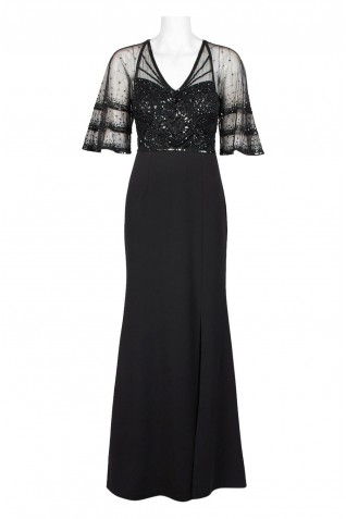 991d9c4a39b30 ... Adrianna Papell V-Neck Illusion 3 4 Sleeve Embellished Mesh Bodice  Cutout Zipper Back