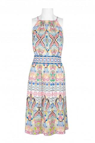 8778eafb75 ... London Times Halter Neck Sleeveless Keyhole Back Bodycon Multi Print  Jersey Dress