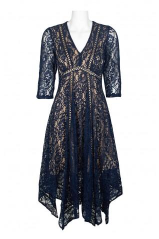 1f63454d3b2d ... Taylor V-Neck 3 4 Sleeve Bodycon Flutter Zipper Back Floral Lace Dress