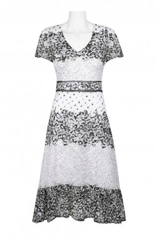 3518be06cf28 ... Taylor V-Neck Short Sleeve Bodycon A-Line Zipper Back Floral Lace Dress