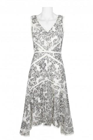 78aa269d9fd2 ... Taylor V-Neck Sleeveless Zipper Back Embellished Floral Lace Dress