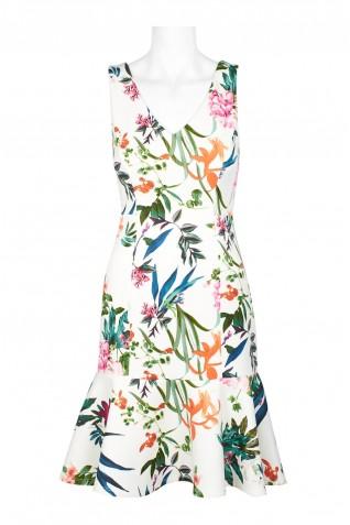 3746ff947fee ... Taylor V-Neck Sleeveless Bodycon Flutter Hem Zipper Back Floral Print  Scuba Dress