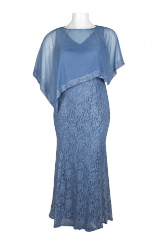 16d5c845ef8 ... Decode Boat Neck Asymetrical Cape Sleeve Illusion Chiffon Lace Dress (Plus  Size)
