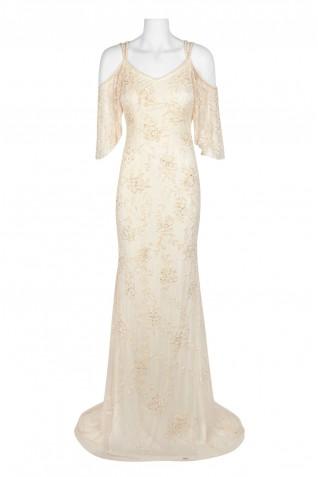 56891c0520 ... Theia Embellished Strap V-Neck Flutter Short Sleeve Zipper Back Mermaid  Mesh Dress