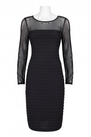 cb113ac80de ... Adrianna Papell Boat Neck Illusion Long Sleeve Piping Detail Bodycon  Zipper Back Mesh Jersey Dress