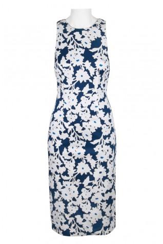 c994186062d ... Adrianna Papell Crew Neck Sleeveless Bodycon Keyhole Back Corset Back  Cotton Dress