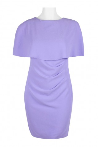 f3f47257 ... Adrianna Papell Crew Neck Cape Sleeve Draped Front Zipper Slit Back  Solid Crepe Dress (Plus