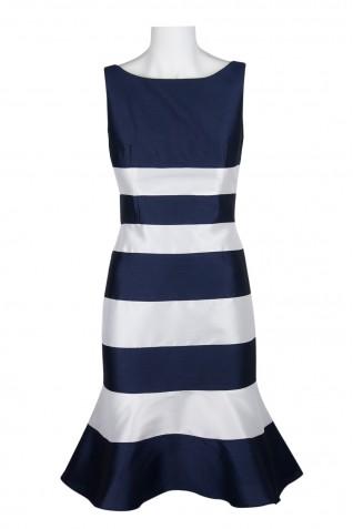 1af9fbbb285a5 ... Adrianna Papell Boat Neck Sleeveless Stripe Pattern Zipper Back Peplum  Faille Dress