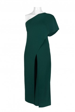 fc58c4541dae ... Adrianna Papell Asymmetrical One Shoulder Cape Sleeve Solid Jumpsuit  (Plus Size)