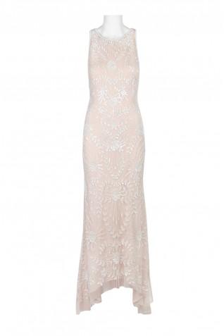 d7ed3a28fa969 ... Adrianna Papell Boat Neck Sleeveless Zipper Back Embellished Mesh Dress