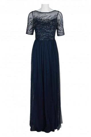 0c06841ece2bf ... Adrianna Papell Boat Neck Short Sleeve Zipper Back Embellished Bodice  Ruched Mesh Dress