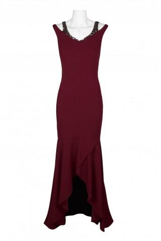 87839b7622fa4 ... Adrianna Papell Embellished V-Neck Cutout Shoulder Sleeveless Bodycon  Zipper Back Flutter Solid Crepe Dress