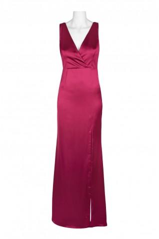 8cf6def447f2e ... Adrianna Papell V-Neck Sleeveless Slit Cutout Back Tie Back Draped  Satin Dress