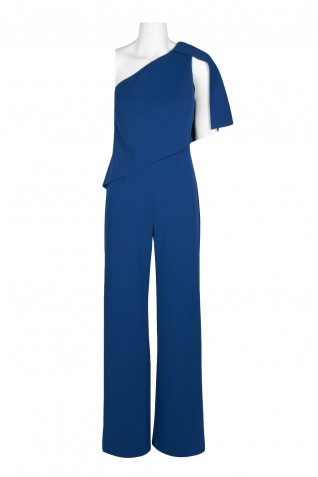 ac7800133e475 ... Adrianna Papell One Shoulder Asymetrical Popover Zipper Back Solid Knit  Crepe Jumpsuit