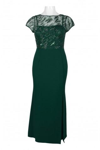 0e0aaa89bbfe ... Adrianna Papell Crew Neck Short Sleeve Embellished Mesh Illusion  Bodycon Keyhole Back Crepe Dress (Plus