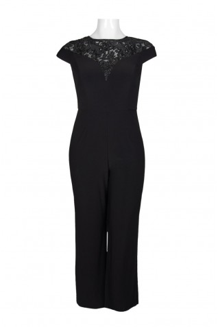 07f451c32d81 ... Adrianna Papell Crew Neck Cap Sleeve Illusion Zipper Back Embellished  Jumpsuit (Plus Size)