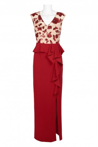 1904d4b4b6de6 ... Adrianna Papell V-Neck Sleeveless Embroidered Mesh Bodice Zipper Back  Ruffled Waist Stretch Crepe Dress