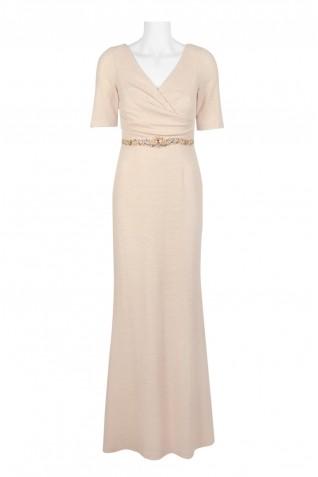caab52fcb0c62 ... Adrianna Papell V-Neck 3 4 Sleeve Ruched Embellished Waist Zipper Back  Metallic Knit
