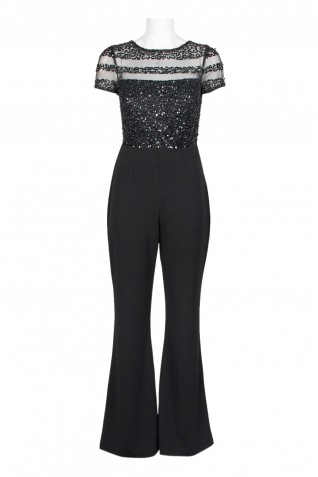 a774111ead2e ... Adrianna Papell Embellished Mesh Illusion Bodice Zipper Back Crepe  Jumpsuit