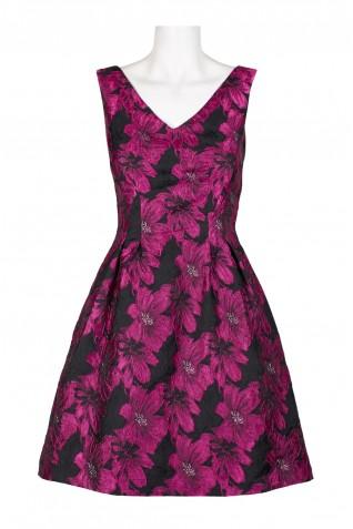 c32776c2b9cf ... Donna Ricco V-Neck Sleeveless Pleated A-Line Zipper Back Floral  Jacquard Dress