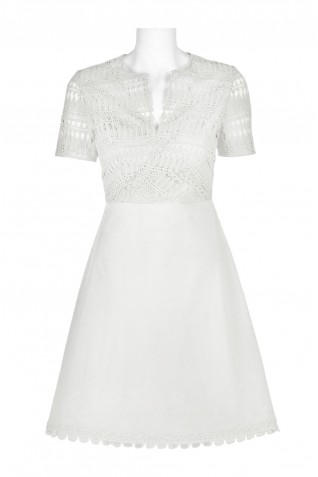 defc9df944d2 ... Elie Tahari Split Neck Short Sleeve Pleated A-Line Zipper Back Cotton  Lace Dress