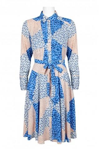 34c31142b9c49 ... NANETTE Nanette Lepore Collared Tie Waist Long Sleeve Pleated Multi  Print Polyester Dress